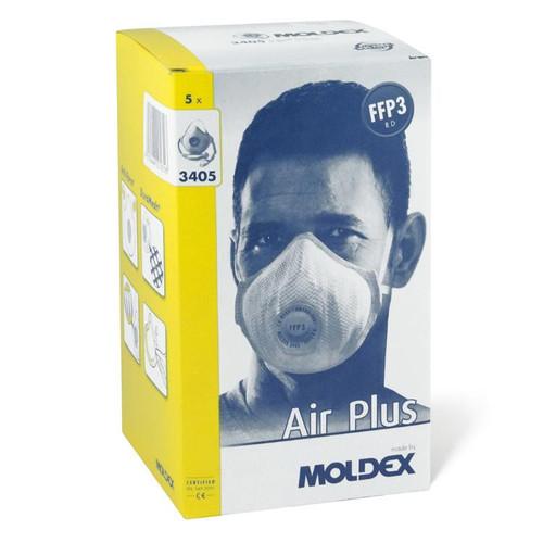 Moldex 3405 FFP3 Air Plus Face Mask Valved (Box of 5 Respirators)