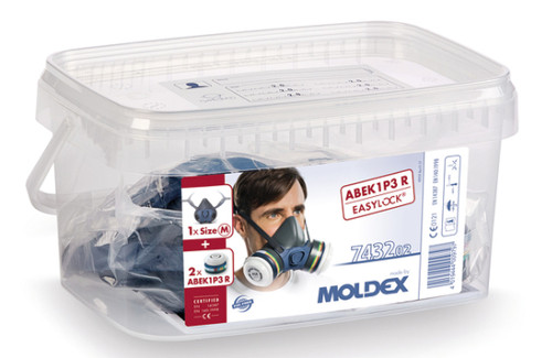Moldex 7432 Pre-Assembled Medium Half Mask Reusable Respirator with Filters (A1B1E1K1P3 R)