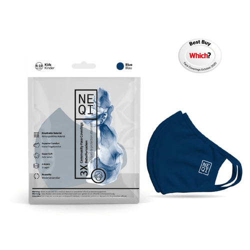 NEQI Reusable Childrens Masks - 3 Pack (Blue)