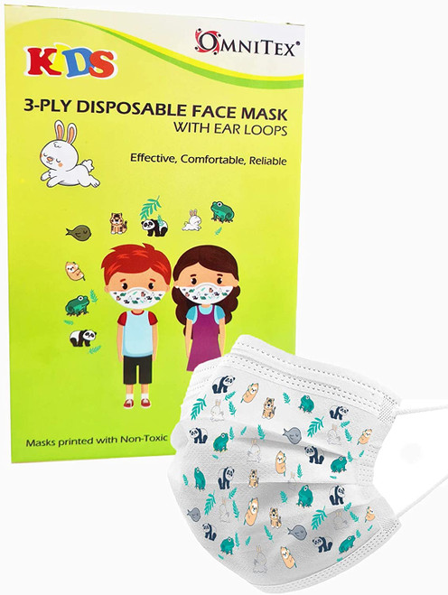 Omnitex Premium 3-Ply Disposable Childrens Face Mask with Ear Loops
