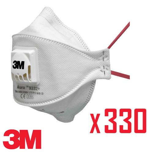 3M Aura 9332+ FFP3 Valved Respirator Face Mask - Bulk Carton of 330