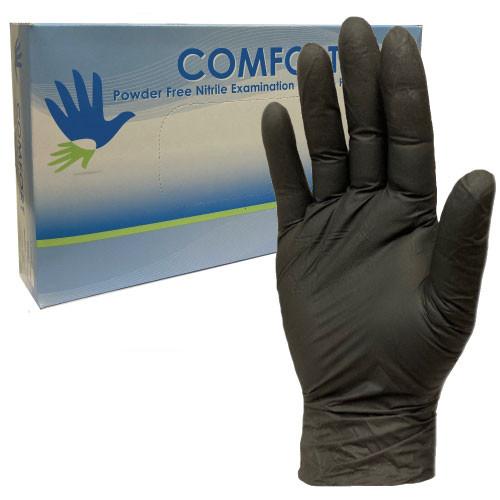 Black Nitrile Disposable Gloves Box of 100 - Comfort Rubber Gloves