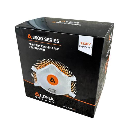 Alpha Solway 2530V FFP3 Valved Face Mask Respirator - Box of 10