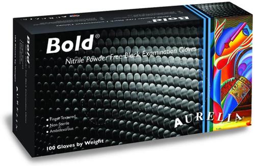 Aurelia Bold Black Nitrile Powder Free Gloves  - Box of 100
