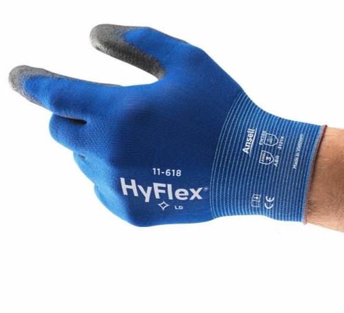 Ansell HyFlex 11-618 Lightweight Work Gloves with PU Palm - Size 7
