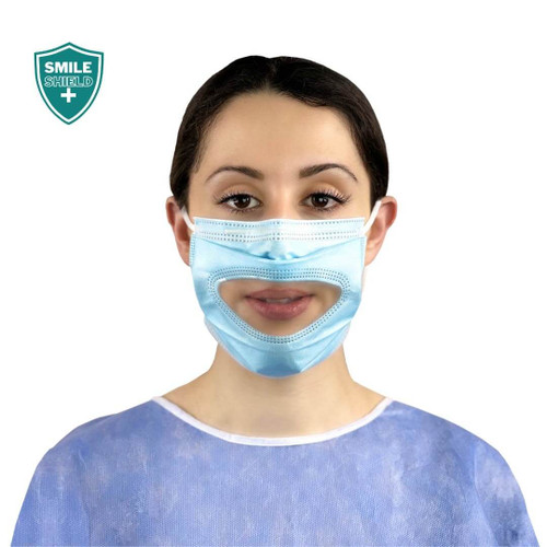 Smile Shield Type IIR Face Masks With Clear Panel - Box of 50