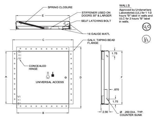 16 x 16 Fire Rated Un-Insulated Access Door with Flange for Drywall Best Access Doors Canada