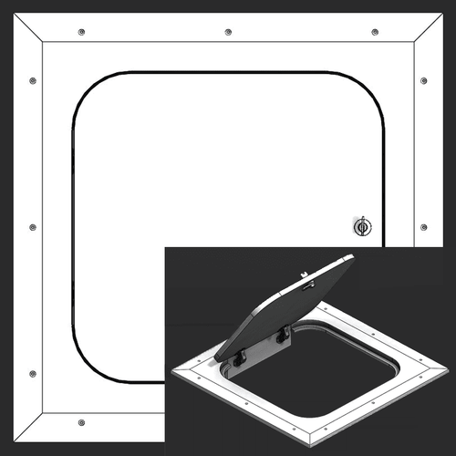 12 x 12 Hinged Radius Corner - Access Panel for Ceilings Best Access Doors Canada
