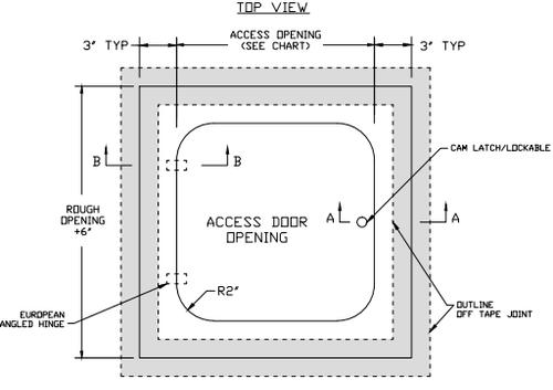 22 x 34 Hinged Radius Corner - Access Panel for Ceilings Best Access Doors Canada