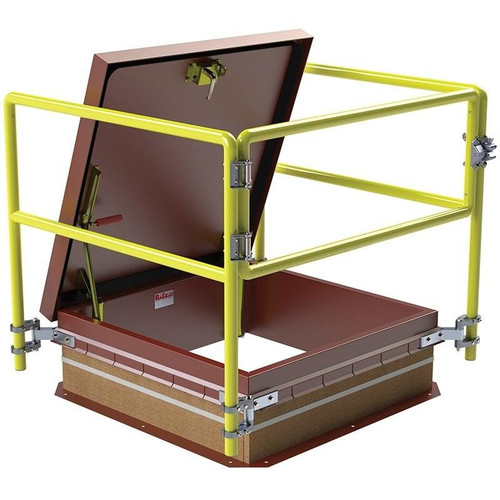 36 x 36 Thermally Broken Roof Hatch Safety Railing System Best Access Doors Canada