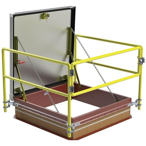 48 x 48 Equipment Access Thermally Broken Roof Hatch Safety Railing System Best Access Doors Canada