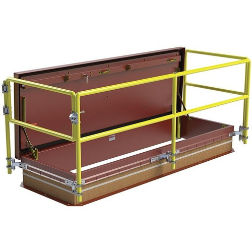30 x 96 Service Stair Access Thermally Broken Roof Hatch Safety Railing System Best Access Doors Canada