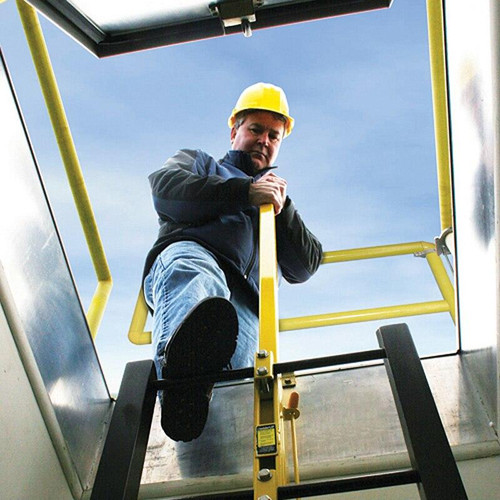 Yellow Powder Coat Ladder Up Safety Post Best Access Doors Canada