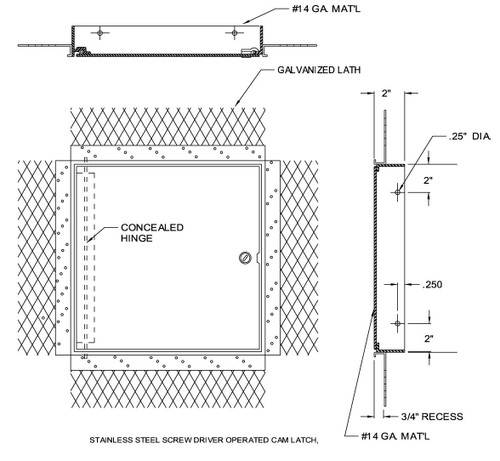 14 x 14 Flush Access Door for Plaster Walls and Ceilings Best Access Doors Canada