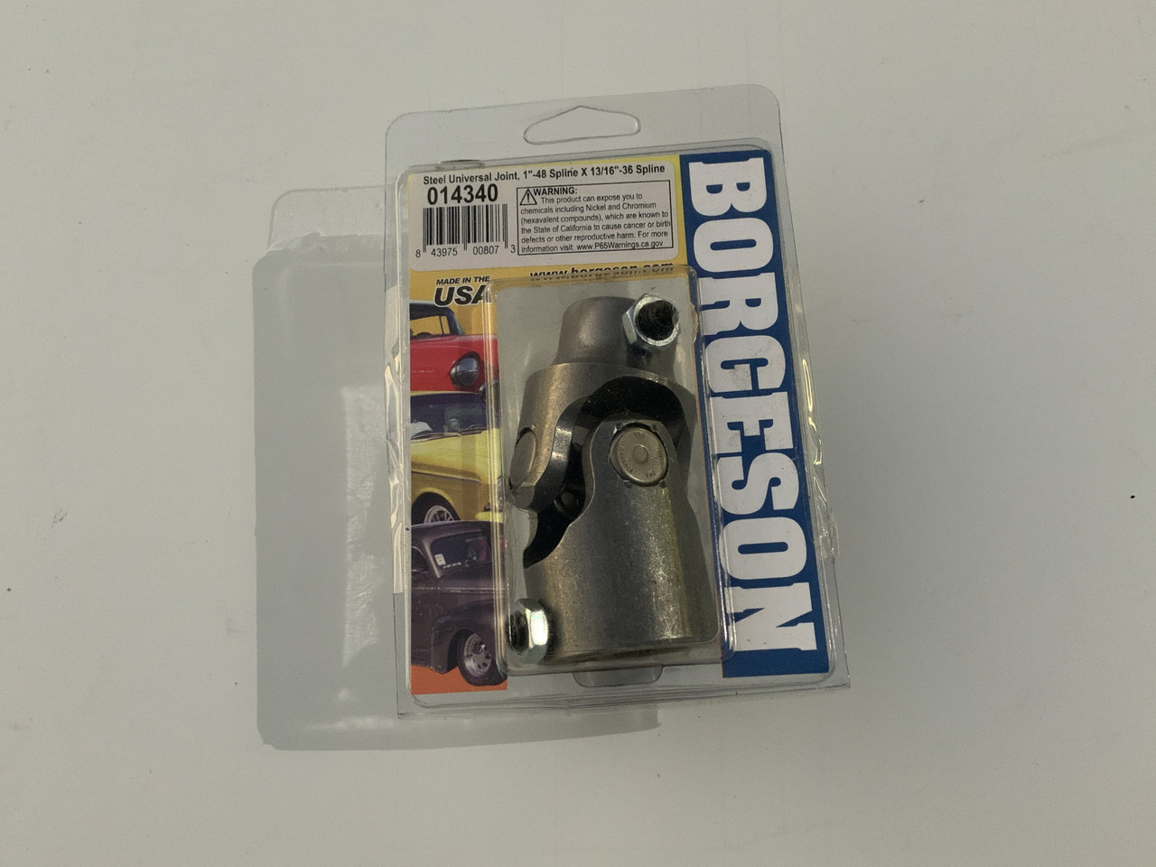 """Borgeson 014340 Steering Universal Joint, Steel, 1""""48 X 13/16-36"""