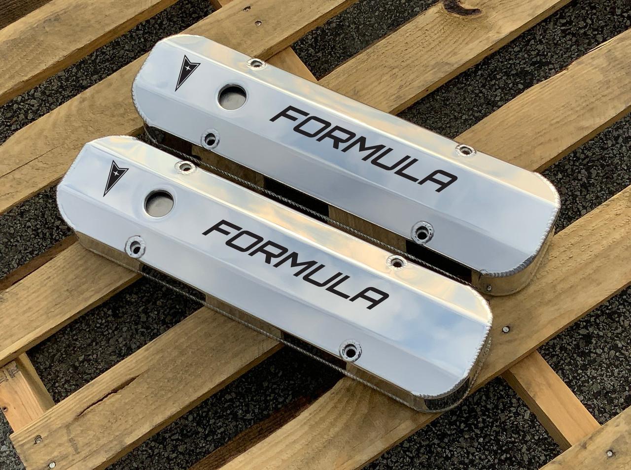 Pontiac 326 350 389 400 426 Fabricated Aluminum Valve Covers Etched Formula