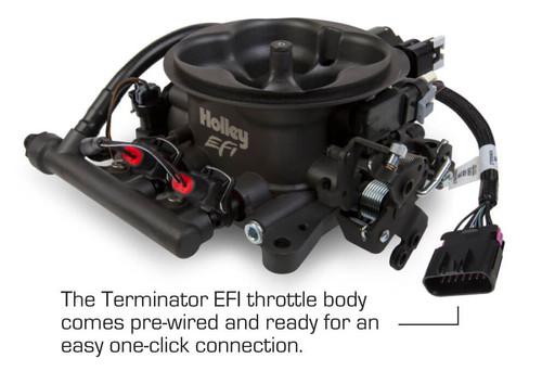 550-405 Holley EFI Terminator EFI 4bbl Throttle Body Fuel Injection System - Tumble Polished