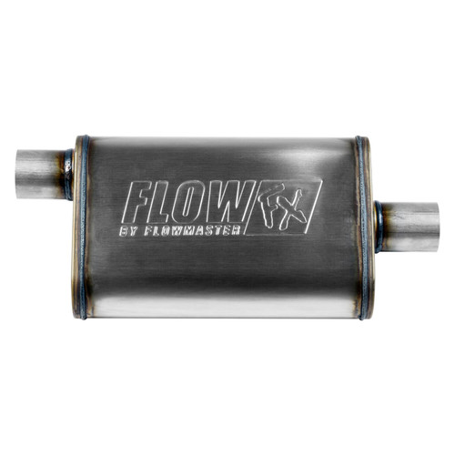 71225 Flowmaster FlowFX Muffler - 2.25 Offset In/ 2.25 Center Out - Straight Through Performance - Moderate Sound - Stainless Steel