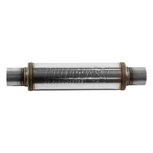 71416 Flowmaster FlowFX Muffler - 2.50 In/Out - Round Body - Straight Through Performance - Moderate Sound - Stainless Steel