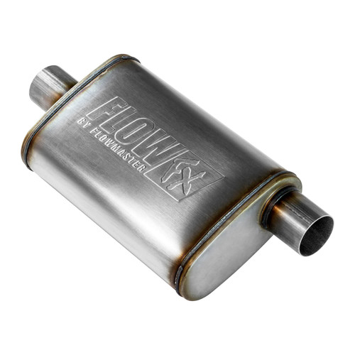 71226 Flowmaster FlowFX Muffler - 2.50 Offset In/ 2.50 Center Out - Straight Through Performance - Moderate Sound - Stainless Steel