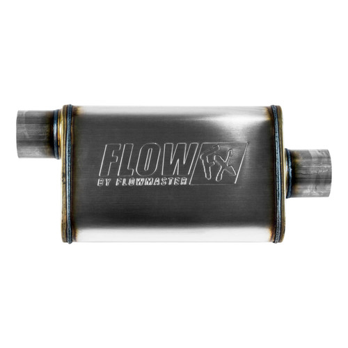 71229 Flowmaster FlowFX Muffler - 3.00 Offset In/ 3.00 Center Out - Straight Through Performance - Moderate Sound - Stainless Steel