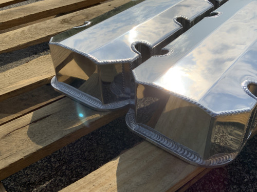 BBC Big Block Chevy Fabricated Aluminum Valve Covers Etched Malibu