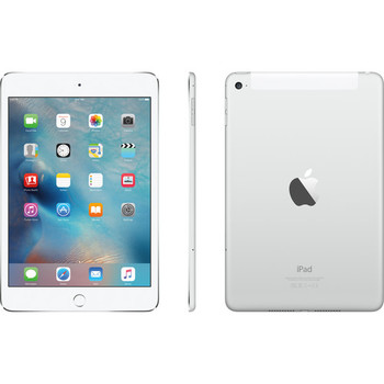 "Apple 128GB iPad Mini 4 - 4G LTE, 7.9"" Touchscreen, Silver - MK7U2LL/A"