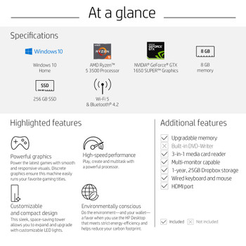 HP Pavilion TG01-0023W, AMD Ryzen 5 – 3500, 8GB RAM, 256GB SSD, GeForce GTX 1650 Super 4GB