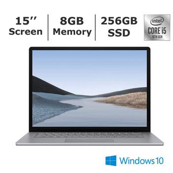 "Microsoft Surface Laptop 3 - 15"" Touchscreen, Intel Core I5, 8GB RAM, 256GB SSD, Windows 10 Pro, Silver"