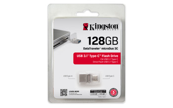 Kingston 128gb Dt Microduo 3c, Usb 3.0/3.1 + Type-c Flash Drive