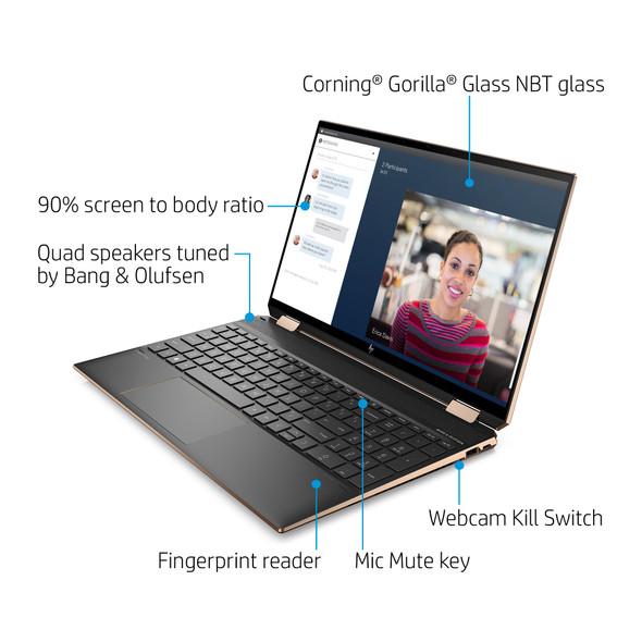 "HP Spectre x360 15-eb0043dx - Intel i7 10510U, 16GB RAM, 512GB SSD, GeForce MX330 2GB, 15.6"" 4K UHD Touch Screen, Nightfall Black, Windows 10 Home"