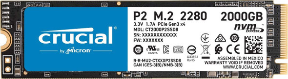 Crucial P2 2TB 3D NAND NVMe M.2 Solid State Drive - CT2000P2SSD8
