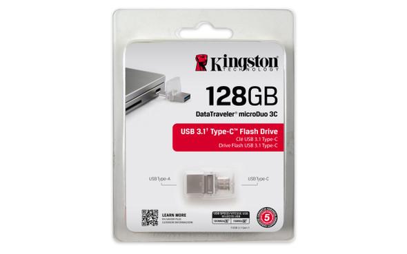 Kingston 128gb Dt Microduo 3c, Usb 3.0/3.1 + Type-c Flash Drive