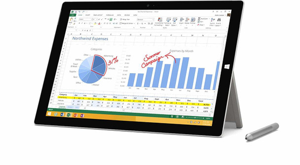 "Microsoft Surface Pro 3 Tablet - Intel i5 - 1.90GHz, 4GB RAM, 128GB SSD, 12"" Touchscreen, Windows 10 Pro"