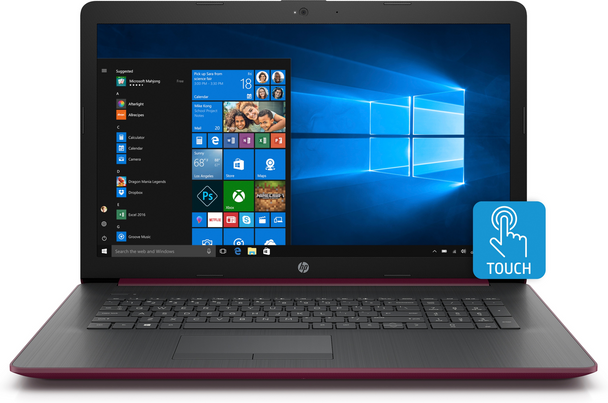 "HP Laptop 17-by0001ds - 17.3"" Touch, Intel N5000, 8GB RAM, 2TB HDD, Maroon Burgundy"