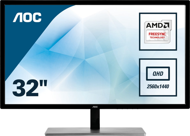 "AOC Value-line Q3279VWFD8 31.5"" Quad HD LED Flat Matt Black Computer Monitor"