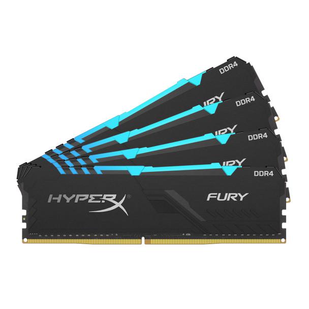 Kingston HyperX FURY RGB 64GB 3466MHz DDR4 Cl16 DIMM Kit of 4 Memory Modules