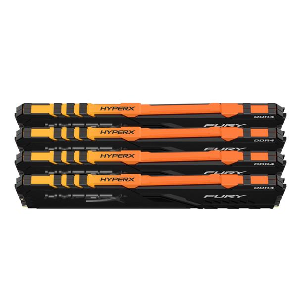 Kingston HyperX FURY RGB 64GB 2666MHz DDR4 Cl16 DIMM Kit of 4 Memory Modules