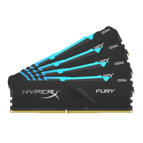 Kingston HyperX FURY RGB 64GB 2400MHz DDR4 Cl15 Dimm Kit of 4 Memory Modules