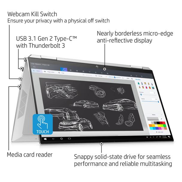 "HP Spectre X360 13-AW0013DX - Intel Core i7 – 1065G7, 8GB RAM, 32GB Optane 512GB SSD, 13.3"" Touchscreen, Natural Silver"