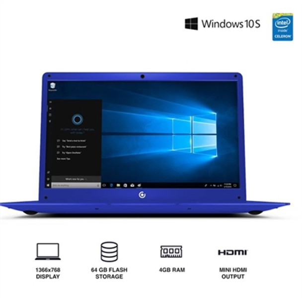 "Core Innovations 14.1"" Laptop - 4GB RAM, 64GB SSD, Windows S Mode, Blue"
