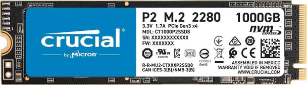 Crucial P2 1 TB 3D NAND NVM M.2 SSD Solid State Drive - CT1000P2SSD8