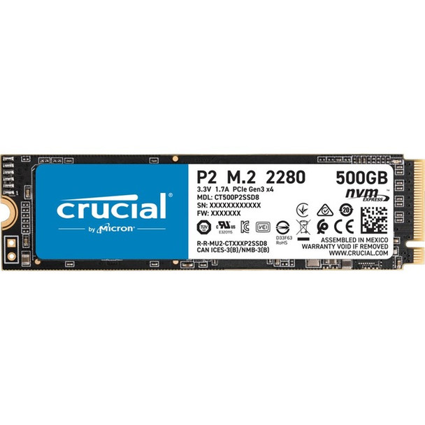 Crucial P2 500GB 3D NAND NVMe M.2 Solid State Drive