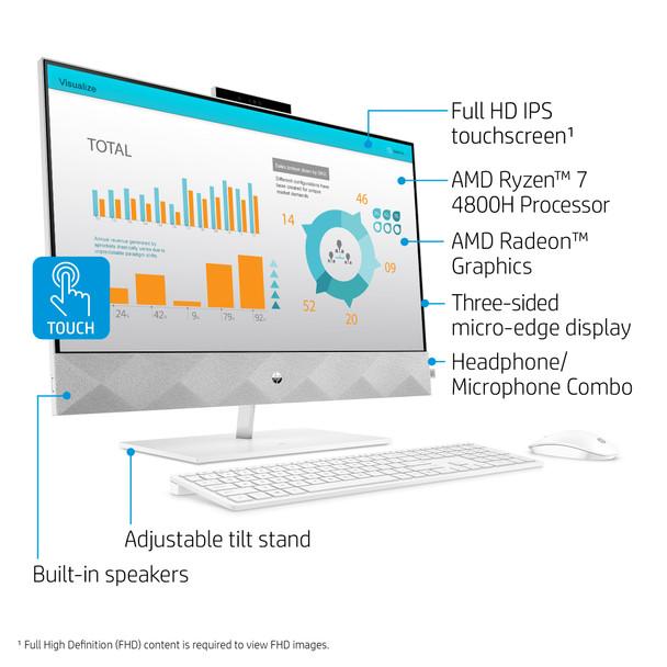 "HP Pavilion All-in-One 27-d0057c - 27"" Touch Screen, AMD Ryzen 7, 12GB RAM, 256GB SSD + 1TB HDD, Windows"