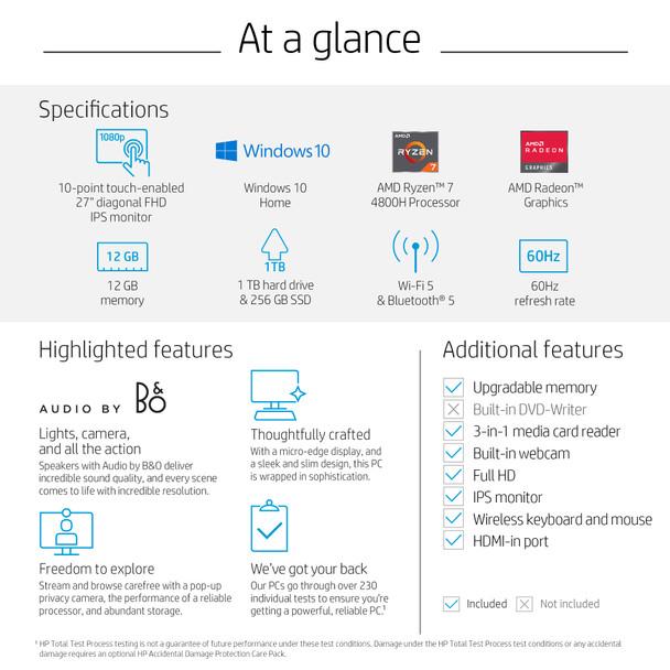 "HP Pavilion All-in-One 27-d0057c - 27"" Touch Screen, AMD Ryzen 7, 12GB RAM, 256GB SSD + 1TB HDD, Windows 10"