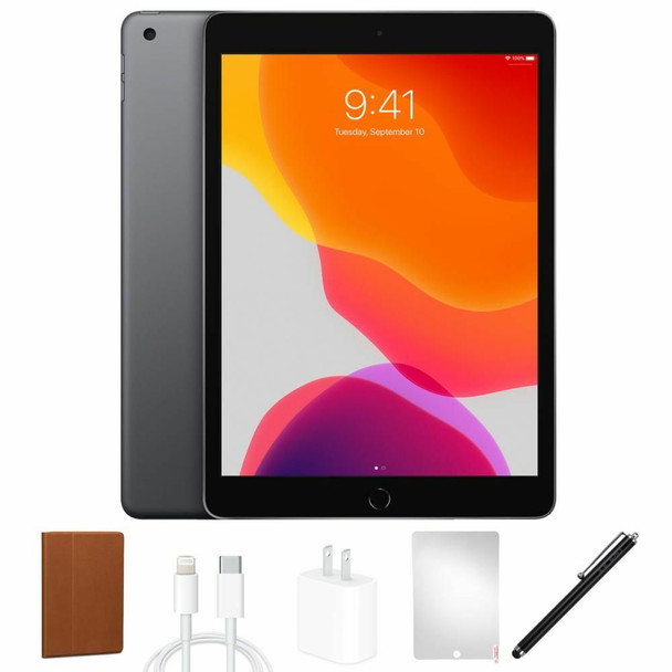 """Apple iPad 7 Bundle - 32GB, 10.2"""" Touch, Space Gray, Stylus Pen, Tablet Case - MW742LL/A"""
