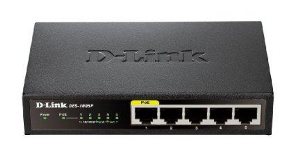 D-link Systems 5-port 10/100 Desktop Switch, Unmanaged, Metal Chassis, 1 15.4w Poe Port