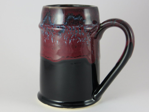 Crafted Cup's black and red 24oz Bavarian stein: Front profile