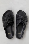 Closed black knotted shoes top view