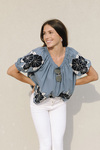 The Great applique floral garland top Front View